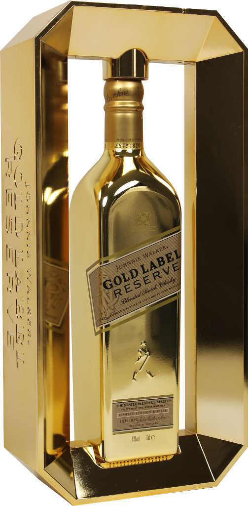 Johnnie Walker Gold Label in goldener Flasche